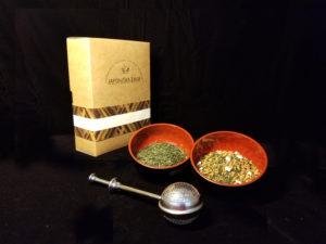 Sencha ir Genmaicha japoniškos žalios arbatos dovanų rinkinys su sieteliu