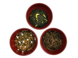 Summer-orange Sencha, Genmaicha, Hojicha žalios arbatos rinkinys ASSORTI su popieriniais filtrais