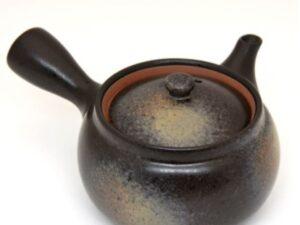 Tokoname molio japoniškas arbatinukas Kyusu, juodas
